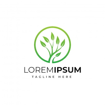 Modelo de design de logotipo de natureza de árvore de círculo