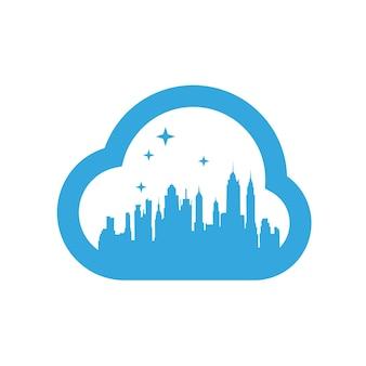 Modelo de design de logotipo de nuvem da cidade