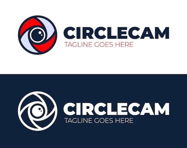 Modelo de design de logotipo de olho de câmera círculo. cctv, ideia de logotipo de negócio abstrato de monitoramento de vídeo.