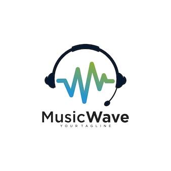 Modelo de design de logotipo de onda sonora