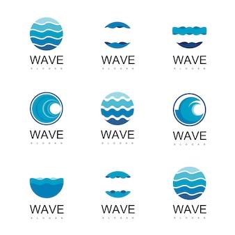 Modelo de design de logotipo de onda