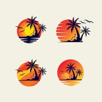 Modelo de design de logotipo de pacote de praia