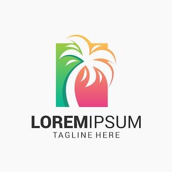 Modelo de design de logotipo de palmeira