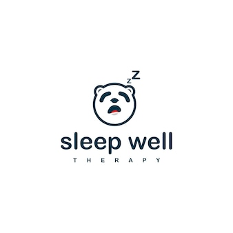 Modelo de design de logotipo de panda do sono para empresa de terapia do sono.