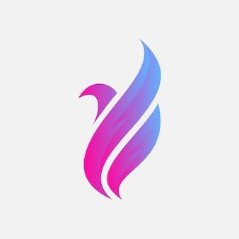 Modelo de design de logotipo de pássaro abstrato