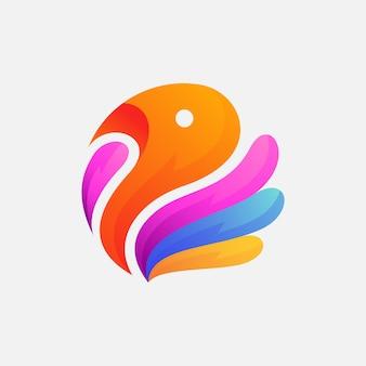 Modelo de design de logotipo de pássaro colorido