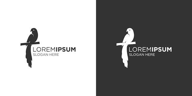 Modelo de design de logotipo de pássaro de cauda longa silhueta
