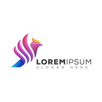 Modelo de design de logotipo de pássaro de cor moderna phoenix
