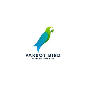 Modelo de design de logotipo de pássaro papagaio, ilustração de símbolo de ícone de animal