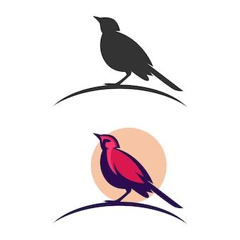 Modelo de design de logotipo de pássaro