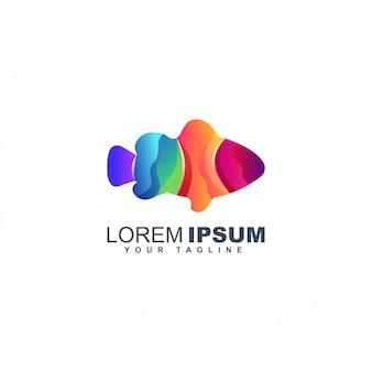 Modelo de design de logotipo de peixe colorido