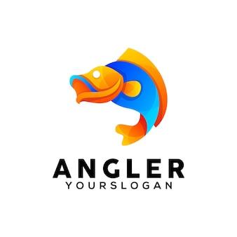 Modelo de design de logotipo de peixes coloridos