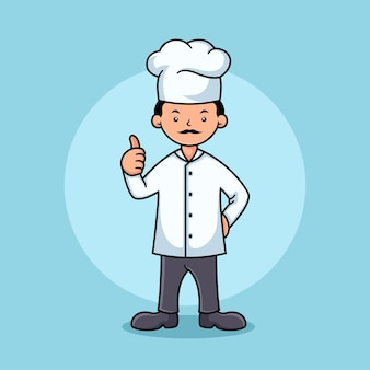 Modelo de design de logotipo de personagem de chef