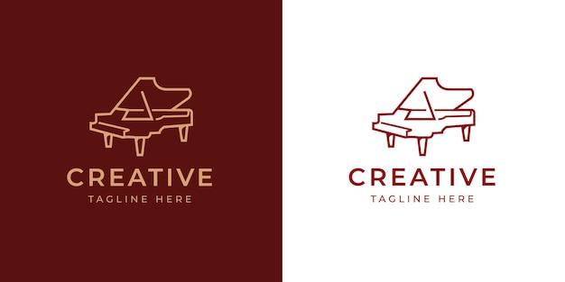 Modelo de design de logotipo de piano de cauda elegante