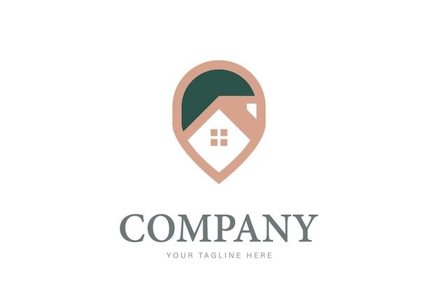 Modelo de design de logotipo de pino de casa elegante símbolo de localização de ponto gps criativo