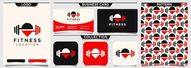 Modelo de design de logotipo de pino de fitness