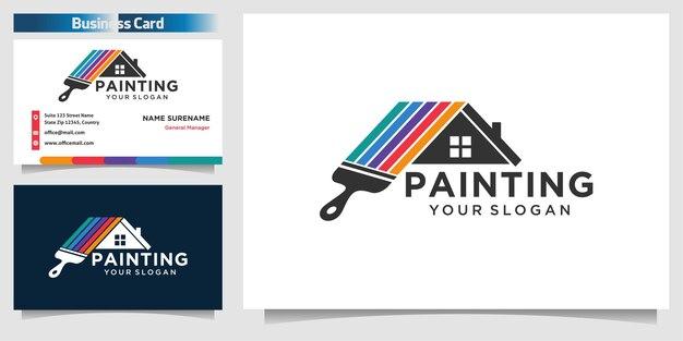 Modelo de design de logotipo de pintura de casa