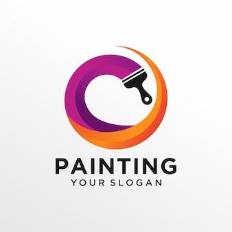 Modelo de design de logotipo de pintura