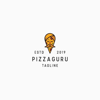 Modelo de design de logotipo de pizza guru
