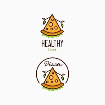 Modelo de design de logotipo de pizza. logotipo de pizza saudável para café e restaurante