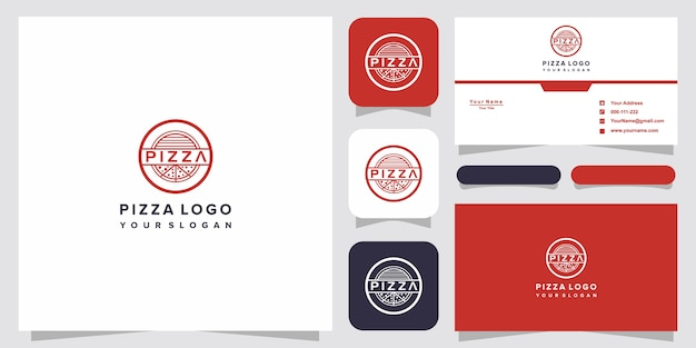 Modelo de design de logotipo de pizza para pizzaria