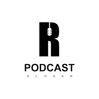 Modelo de design de logotipo de podcast da letra r