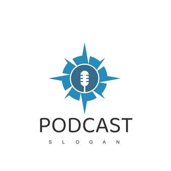 Modelo de design de logotipo de podcast de aventura