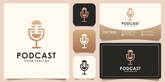 Modelo de design de logotipo de podcast e design de cartão de visita
