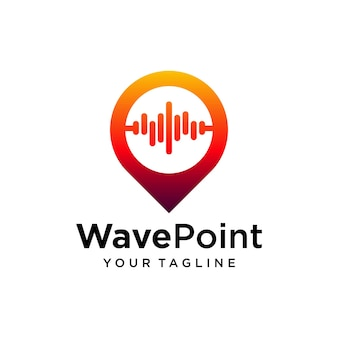 Modelo de design de logotipo de ponto de onda