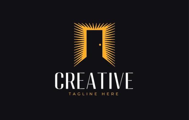 Modelo de design de logotipo de porta ilustração em vetor de porta brilhante com design de ícone de luz de fundo