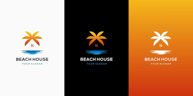Modelo de design de logotipo de praia para casa