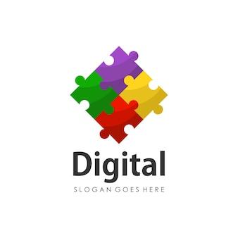 Modelo de design de logotipo de quebra-cabeça digital