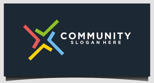 Modelo de design de logotipo de relacionamento social