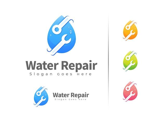 Modelo de design de logotipo de reparo de água