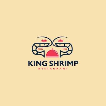 Modelo de design de logotipo de restaurante camarão rei