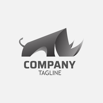 Modelo de design de logotipo de rinoceronte com chifre afiado