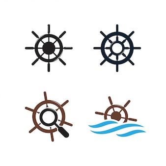 Modelo de design de logotipo de roda de navio