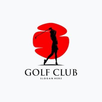 Modelo de design de logotipo de silhueta de esporte de golfe Vetor Premium