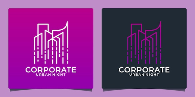 Modelo de design de logotipo de tecnologia de edifício criativo