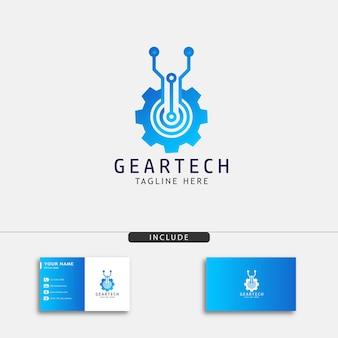 Modelo de design de logotipo de tecnologia de engrenagem criativa para sua loja de máquinas e equipamentos
