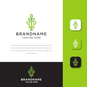 Modelo de design de logotipo de tecnologia de folha. verde, eco, dados.