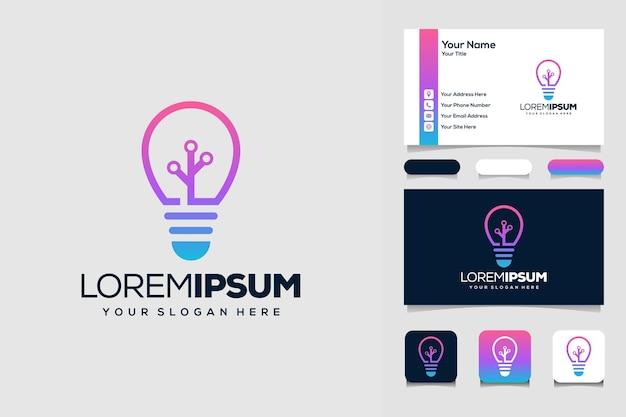 Modelo de design de logotipo de tecnologia de lâmpada moderna criativa e cartão de visita