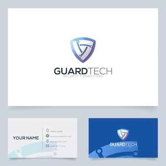 Modelo de design de logotipo de tecnologia de proteção para empresa de tecnologia e mais