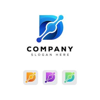 Modelo de design de logotipo de tecnologia letra d