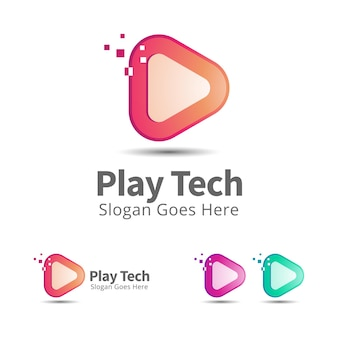 Modelo de design de logotipo de tecnologia play