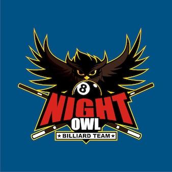 Modelo de Design de logotipo de time de bilhar de coruja de noite