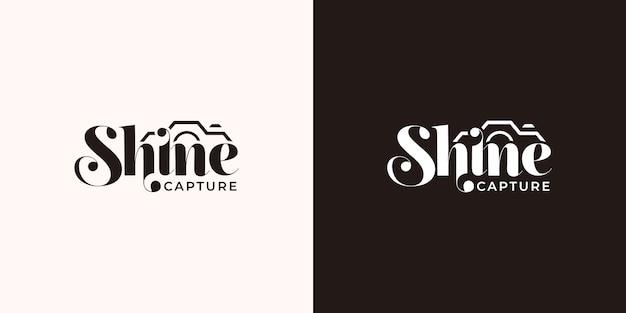 Modelo de design de logotipo de tipografia brilho