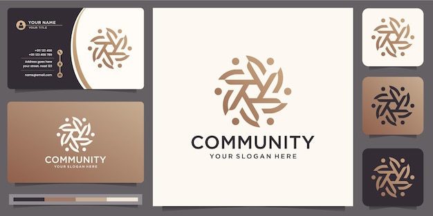 Modelo de design de logotipo de trabalho em equipe da comunidade e cartão de visita.