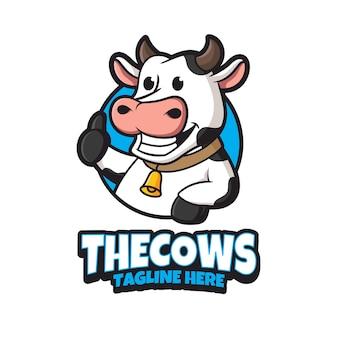 Modelo de design de logotipo de vaca
