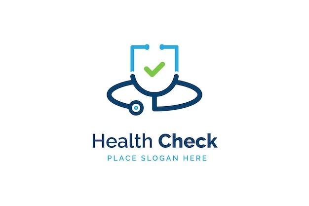 Modelo de design de logotipo de verificação de saúde. ícone do estetoscópio com forma de lista de verificação. símbolo de saúde e medicina
